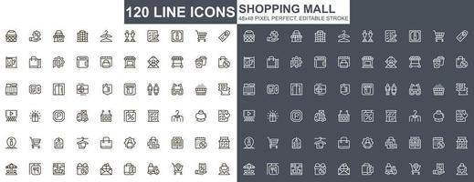 köpcentrum tunn linje ikoner set