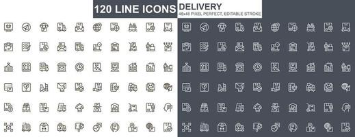 leverans tunn linje ikoner set