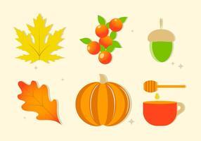Gratis platta design vektor höstelement och ikoner