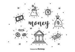 Handdragna pengarvektoruppsättning