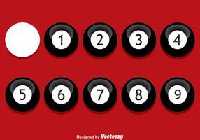 Schwarz 9 Ball auf rotem Vektor