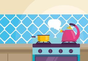 Vattenkokare med kokande vatten illustration vektor