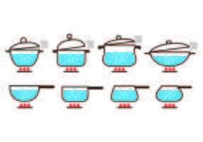 Krukor med kokande vatten ikon vektorer