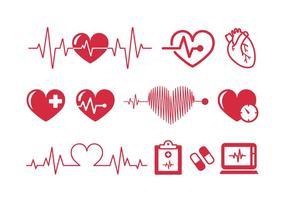 Heartbeats Cardiogram Vector Ikoner