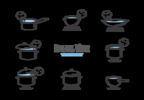 Kokande vatten ikoner vektor
