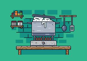 Topf mit kochendem Wasser Vektor