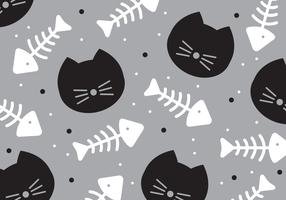 Katt och Fishbone Pattern Vector