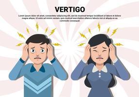 Kvinna och man med Vertigo Vector Illustration