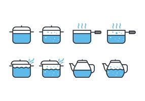 Kochendes Wasser Icon Set vektor