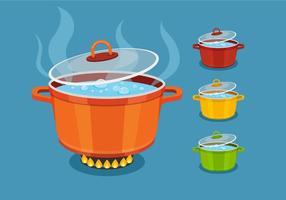 Kochendes Wasser in bunten Topfvektoren