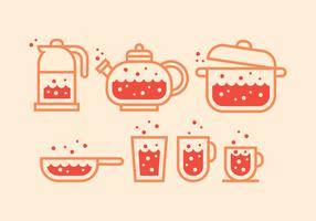 Kochende Wasser Icons