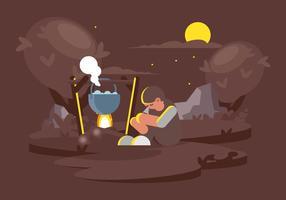 Kokande vatten vid Camp Illustration vektor
