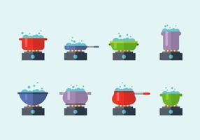 Kokande vatten i olika krukvektor vektor