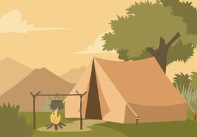 Kokande vatten till frukost på Camp Free Vector