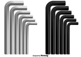 Vektor uppsättning av insexnycklar i olika storlekar