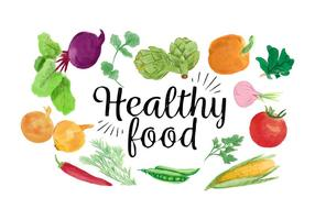 Akvarell Blandade grönsaker Hälsosam vektor