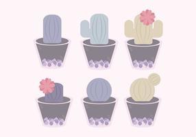 Vektor söt kaktusuppsättning