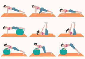 Kvinna som gör övning samling