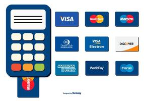 Kartenleser und Kreditkartensammlung