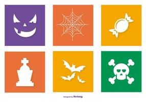 Färgglada Halloween Icon Collection