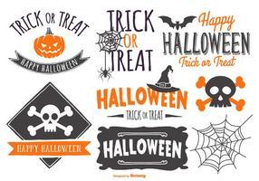 sketchy typografiska halloween etikett samling