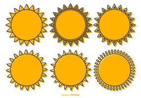 Söt samling av vektor sol former