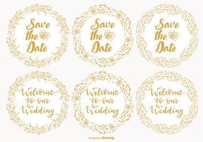 Söt bröllop och spara datumetiketter vektor
