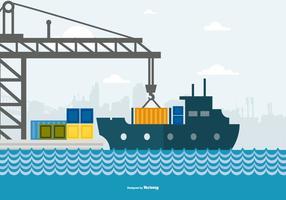 Gullig platt stil illustration av en hamn
