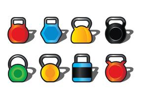 kettle bell icons set