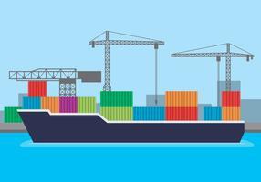 Hafen von Port Town und Landschaft Hintergrund Illustration vektor