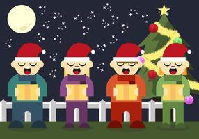 Carolers Frohe Weihnachten Singen Illustration Vektor