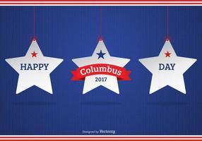 Glad Columbus Dag 2017 Bakgrund Med Vit Hängande Stjärnor
