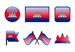 Glossy Kambodscha Flagge Vektor