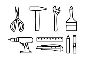 Bricolage Werkzeug Icon-Set vektor