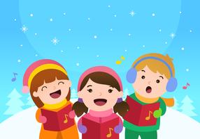 Kids Singing Christmas Carols Vector