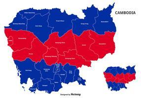 Vektor karta av Kambodja färgad av national flagga