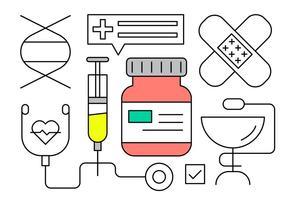 Kostenlose medizinische Icons in minimalem Design Vector