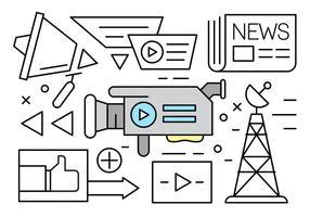 Lineare Medien-Icon-Sammlung vektor