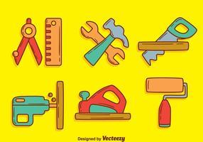 Handdragen Bricolage Tool Kit Vector