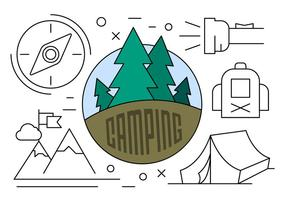 Lineare Camping Illustration