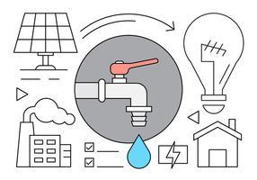 Linjära Eco Hushåll Vector Ikoner