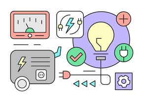 Lineare Elektrizitätsgenerator-Icons