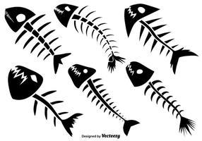 Vektor uppsättning av sex fiskben