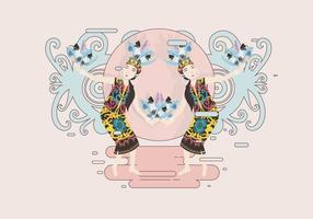 Weiblicher Dayak-Tänzer-Vektor