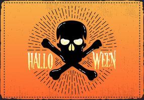 Gratis Vintage Halloween Skalle Vektor Illustration