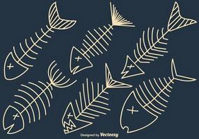 Vektor handdragen Fishbone Icon Set