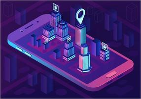 Konzept der isometrischen Architektur der intelligenten Stadt vektor