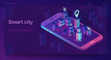 isometrische Zielseite von Smart City vektor