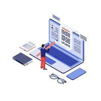 copywriting isometrisk innehållsförfattare vektor