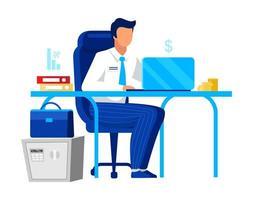 Büroangestellter auf Laptop